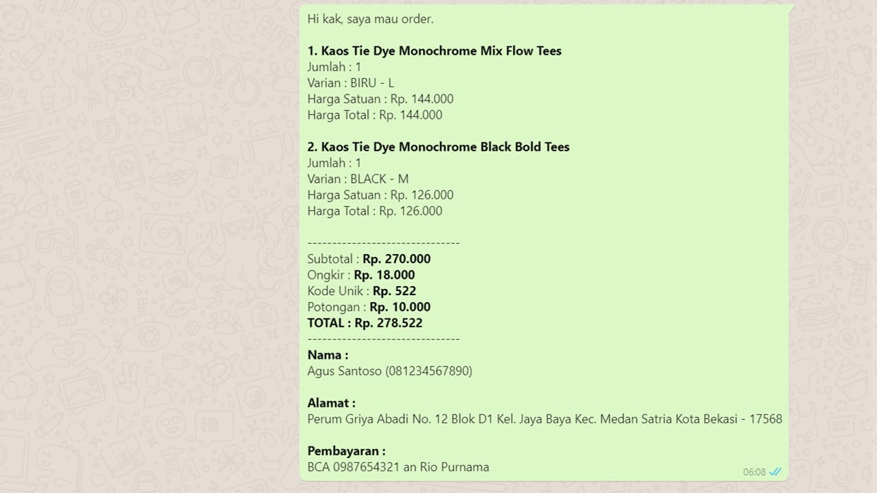 Toko Online Whatsapp Tracking Checkout